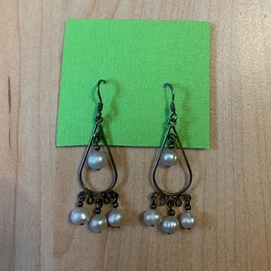 Vintage authentic pearl chandelier earrings